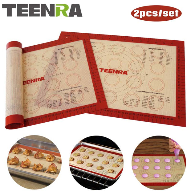 TEENRA 2Pcs/set Non-stick Macaron Baking Mat Silicone Mats Baking