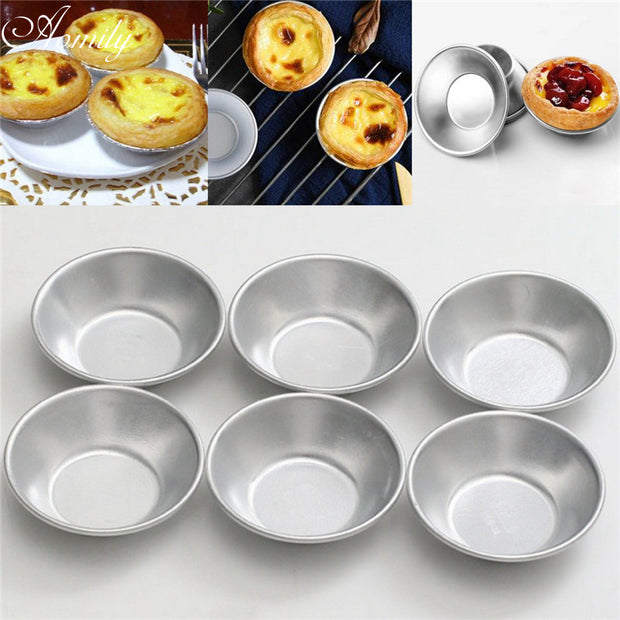 Aomily 6pcs/Set Silver Eggs Tarts Mold Mini Homemade Pie Quiche Baking