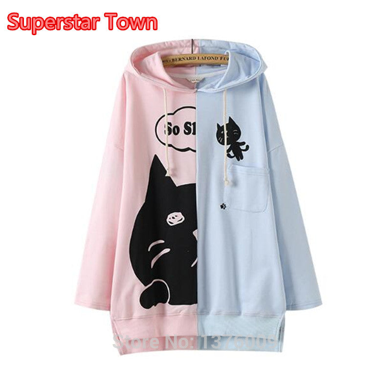Lolita Girls Hoodies Long Style Harajuku Oversize Hoodie Kawaii Girl Pullover Cute Meow Cat Pattern Sweet