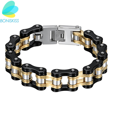 Boniskiss New Biker Motorcycle Link 316L Stainless Steel Bracelet Wholesale Boys Mens Chain Sport Luxury Bracelet Jewelry