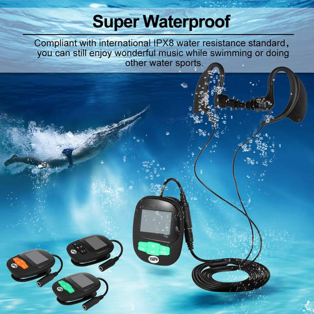 Newest 4G 8GB IPX8 Diving Swimming MP3 Waterproof Player Earphone