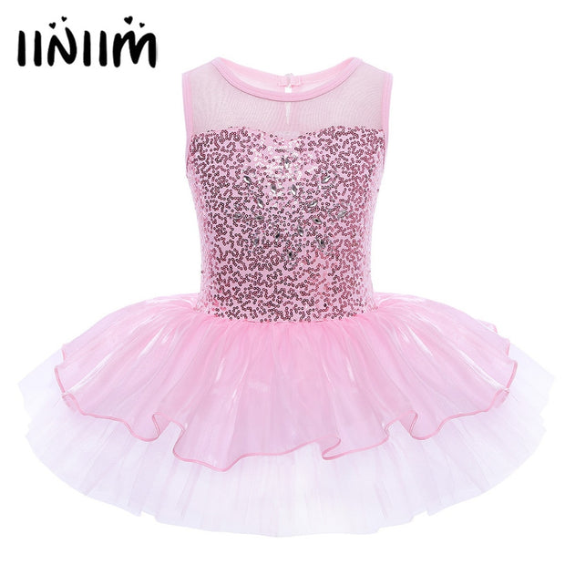 Sleeveless Ballerina Fairy Prom Party Costume Kids Girls Sequined Flower Dress Dancewear Gymnastic Ballet Leotard Tutu Dress