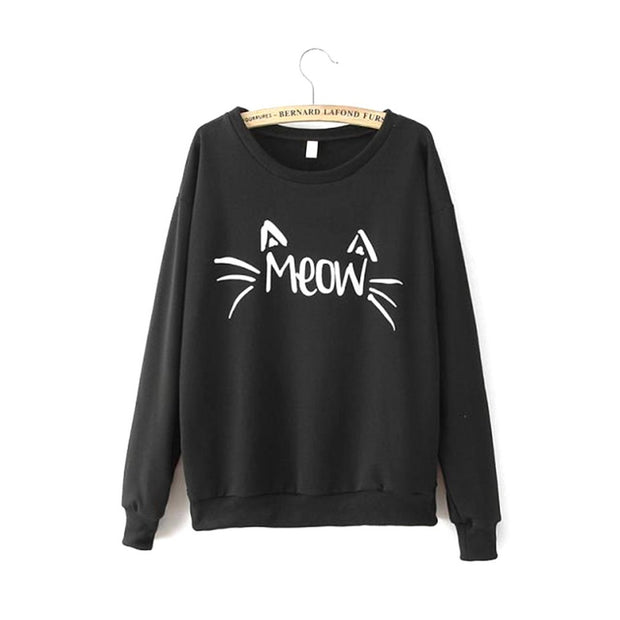 Liva Girl New Fashion Cute Meow Cat Printed Pullovers Tops Charm Women Long Sleeve Cozy Fleece Black Kawaii Hoodies Sweatshirts