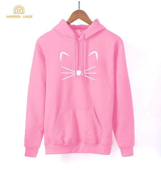 Kawaii Kitty Kitten Meow Cat Print Anime Hoodie 2018 Spring Autumn Cute Sweatshirt Women Pink Hoodies Harajuku Women's Pullovers
