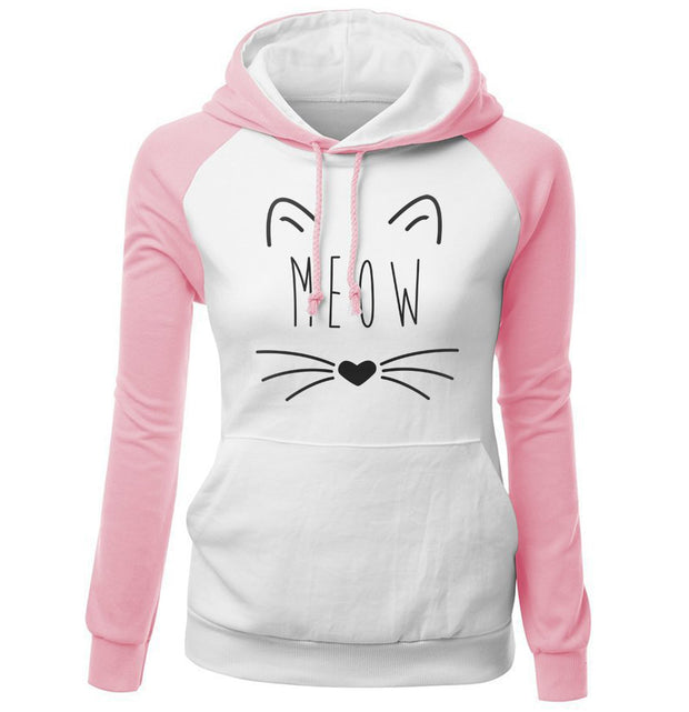 Women's Sweatshirts 2018 Spring New Arrival Hot Brand Raglan Hoodies For Women Sweatshirt Print CAT MEOW Kawaii Raglan Hoodie