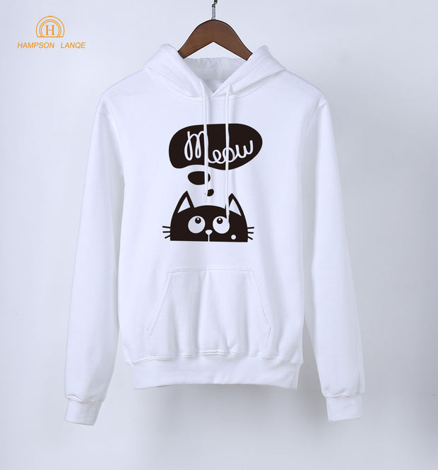 2018 Spring Sweatshirts Women Anime Meow Kawaii Cat Print Women's Hoodies Autumn Long Sleeve Pullovers Warm Fleece K-pop Hoody