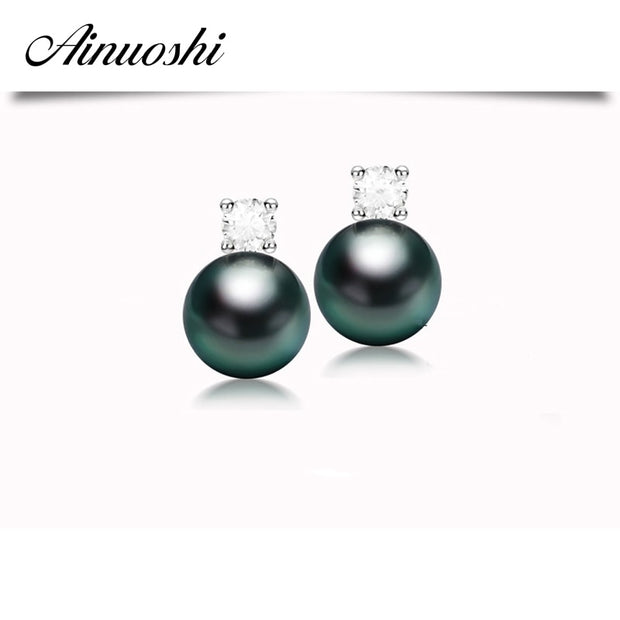 AINUOSHI Luxury 925 Sterling Silver Earrings Natural 9mm Black Tahiti Pearl Round Cut Sona Simulated Diamond Earrings Jewelry
