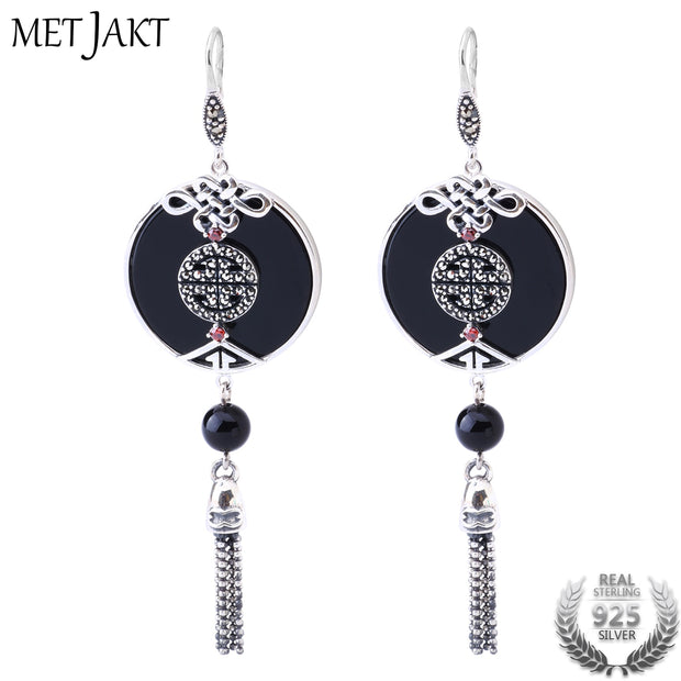 MetJakt Natural Black Agate Earrings Solid 925 Sterling Silver Vintage Earring for Lady Ethnic Style Luxury Jewelry