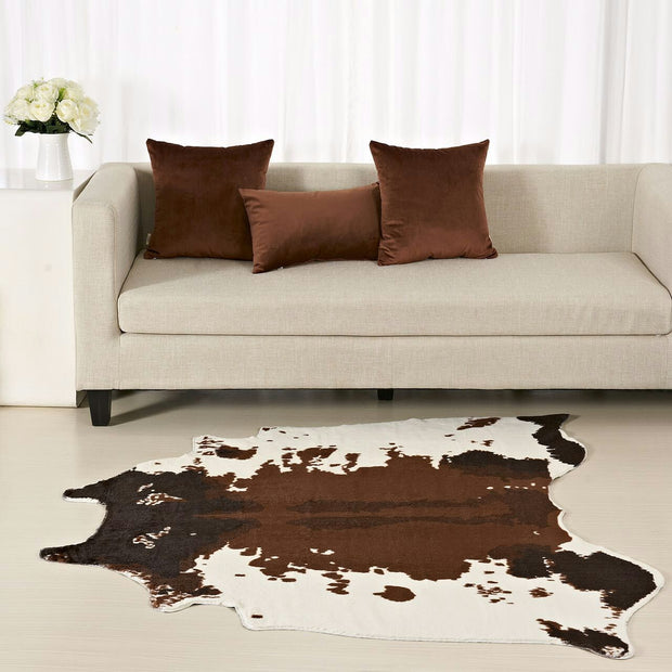 Brown Cowhide Rug Zebra Carpet Creative 150*140 Cm Home Decoration Faux Skin Mat for Living Room Bedroom Carpets