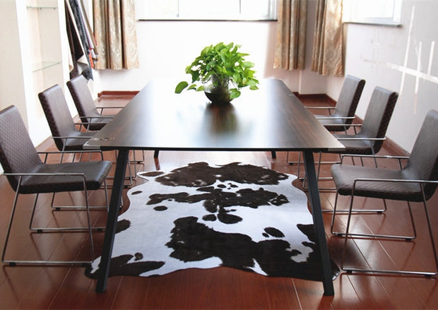 Animal Faux Skin Cowhide Rug Brown Black and White Carpet 200X140CM Anti-skid PU Backing Mat Cowboy Style Home Decor Rugs
