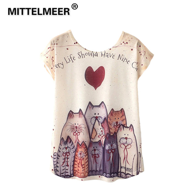 MITTELMEER 2018 Summer kawaii Girls Student t Shirt Women Harajuku Short Sleeve Cartoon Cat Flamingo unicornio Cactus tshirt tee