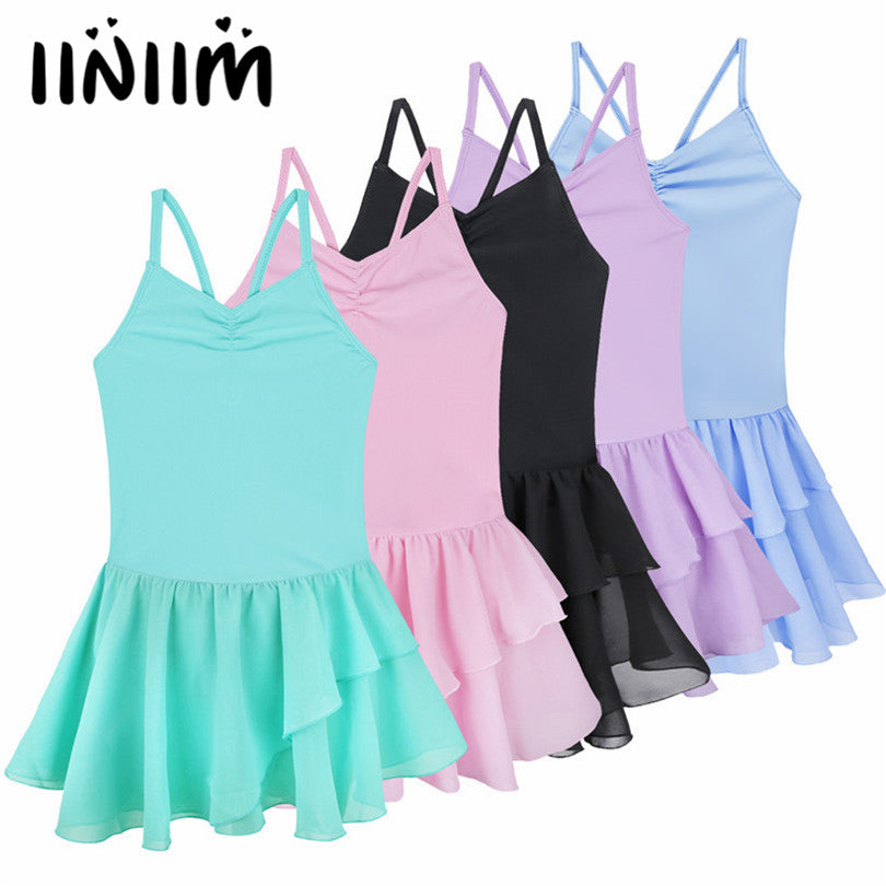iiniim Kids Teenager Spaghetti Strap Ballet Dancer Gymnastics Leotard Dance Tutu Dress for Girls Ballerina Class Dancewear
