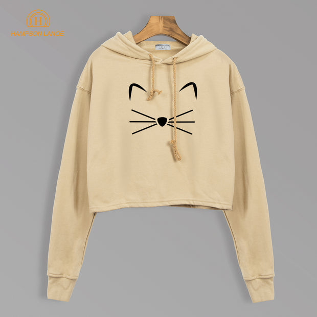 Kitty Kitten Meow Kawaii Cat Sweatshirts Hoodies Autumn 2018 Crop Hoody Harajuku Kpop Slim Fit Women Tracksuit Black Yellow Gray