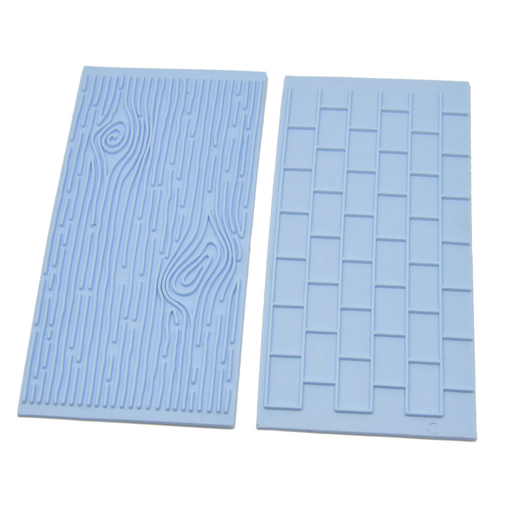 Hot Sale 2pcs Cake Fondant Wall Brick Wood Grain Design Mold