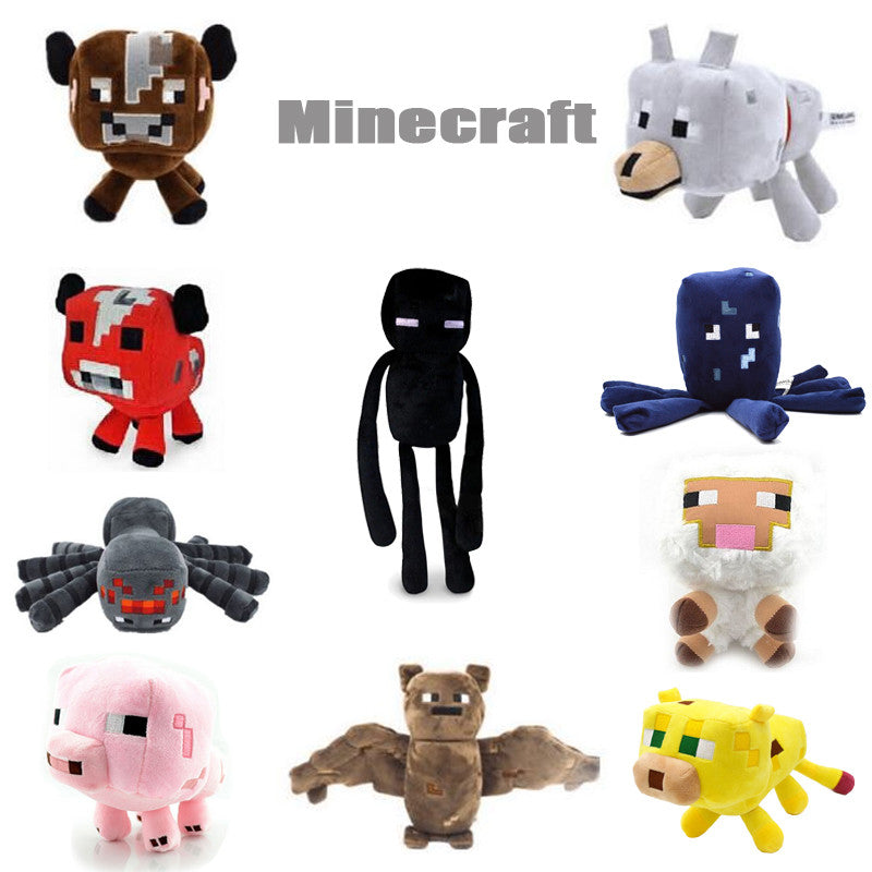New Minecraft Plush Toys Enderman Ocelot Pig Sheep Bat Mooshroom Squid