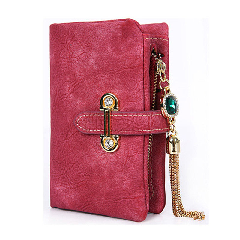 fashion short matte ladies wallet vintage tassel zipper and hasp