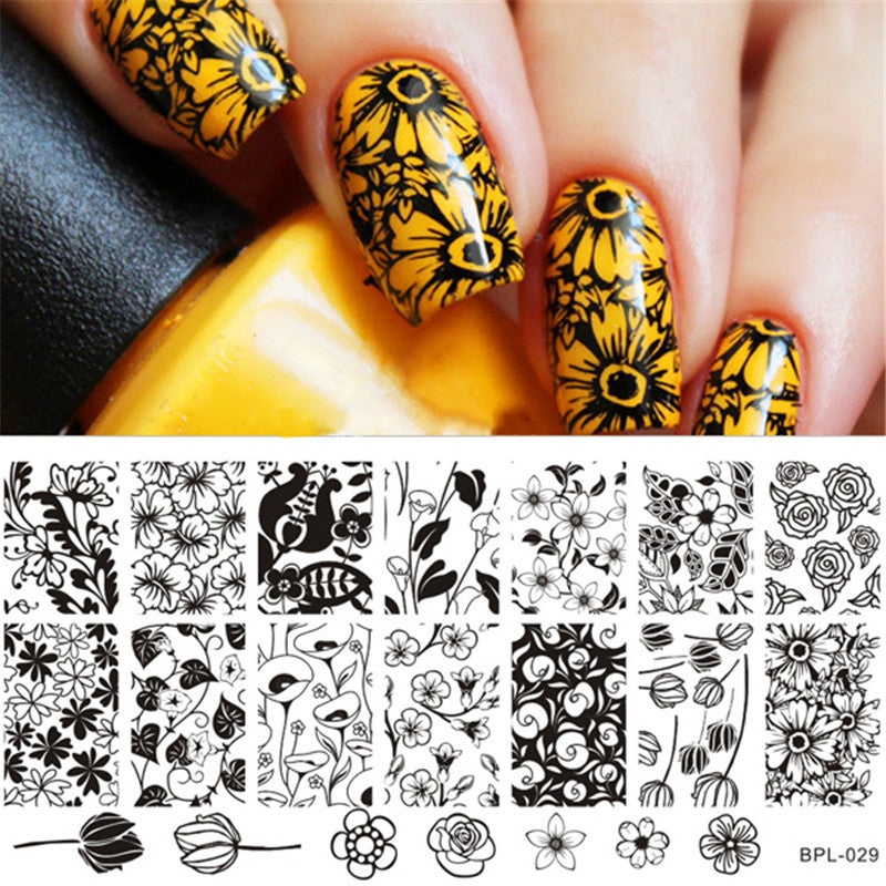 BP-L029 Flower Theme Nail Art Stamp Template Image Plate Rctangular