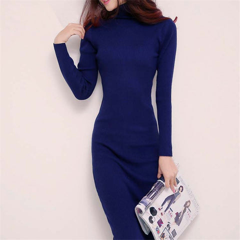 new arrive women winter sweater dresses slim Turtleneck long knitted dress sexy bodycon robe dress D019