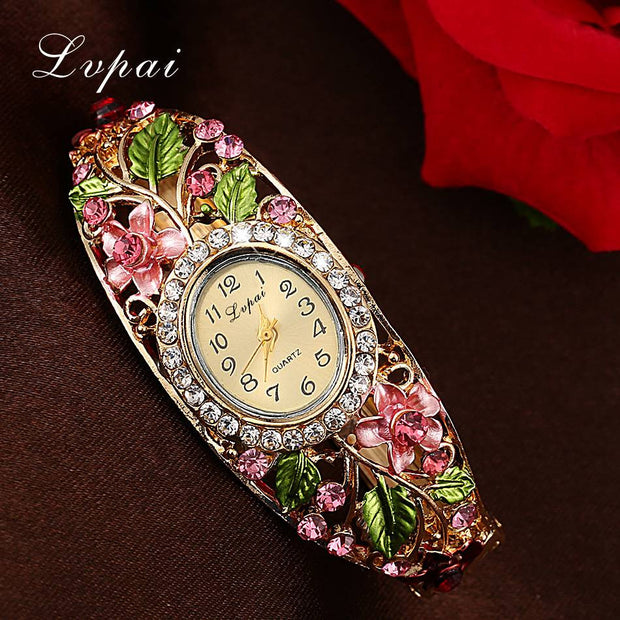 Lvpai Fashion Gold Watches Bracelet Watch Women Flower Gemstone