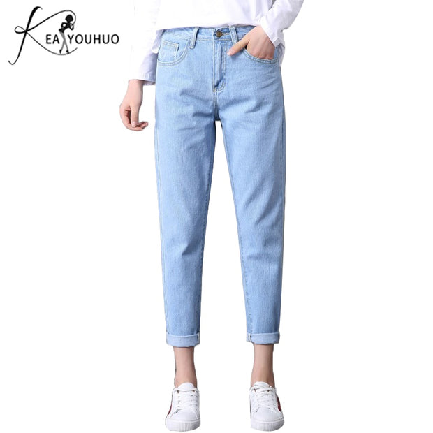 2018 Autumn Ladies High Waist Mom Female Boyfriend Jeans For Women Trousers Pencil Pants Denim Ripped Jeans Woman Plus Size 34