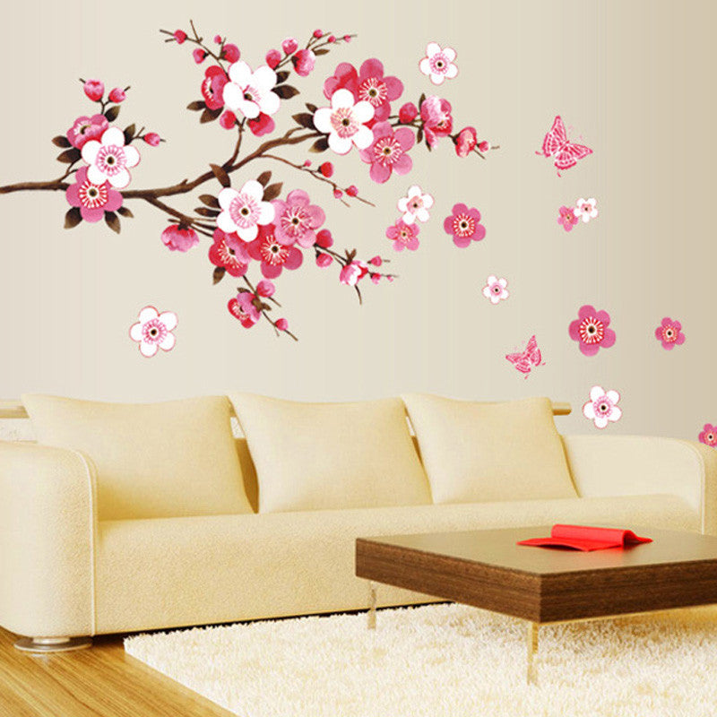 Cherry Blossom Wall Poster Waterproof Background Sticker for Bedroom