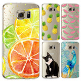 Case For Samsung s6 s6edge Plus s6edge+ note 5 note 4 s4 s5 S7 S7edge Soft Silicon Transparent Fruit Feather Cat Peacock Cover