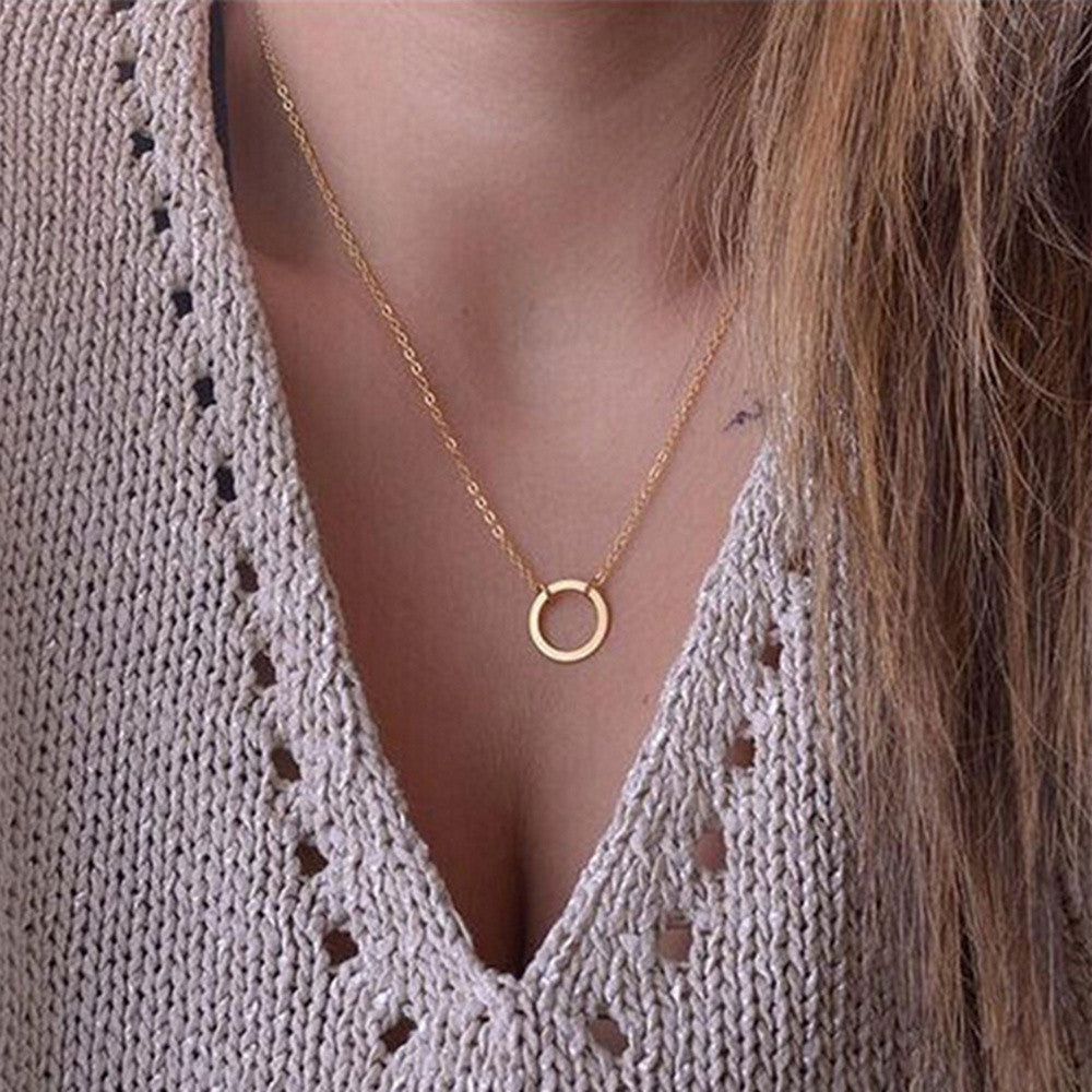 new women trendy necklaces Fashion Simple gold plated Circle Pendant