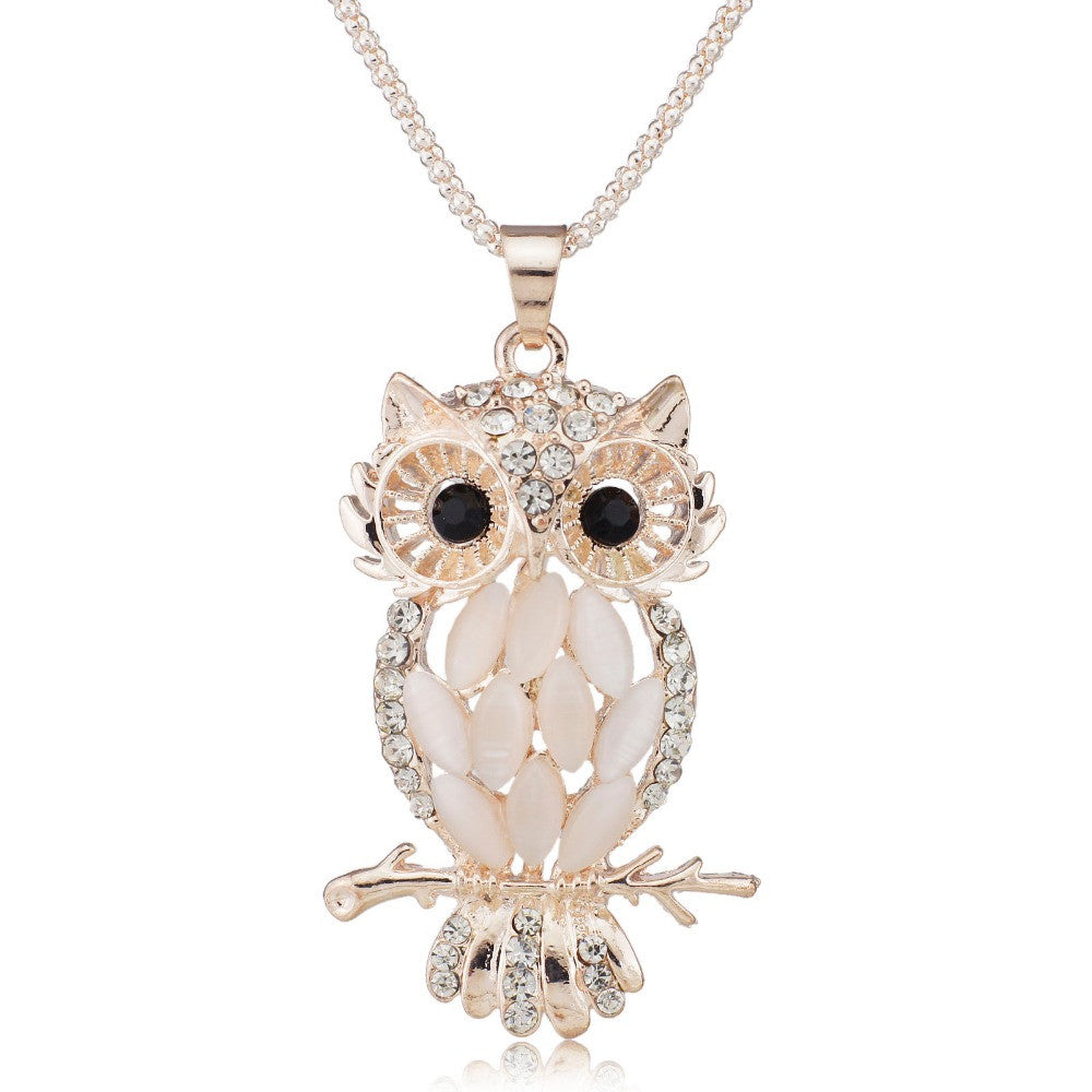 Stylish Gallant Sparkling Owl Crystal Charming Flossy Necklaces &