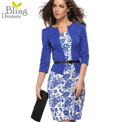 Summer Dress Style Dresses Bodycon Women Fashion Sheath Sexy Office Lady Flower Patchwork Tunic Patchwork One Piece Dress
