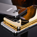 Luxury Metal Hard Phone Case For Samsung Galaxy A310 A510 A710 A3 A5 A7 J5 J7 J510 J710 Plating Aluminum Frame+Mirror Back Cover