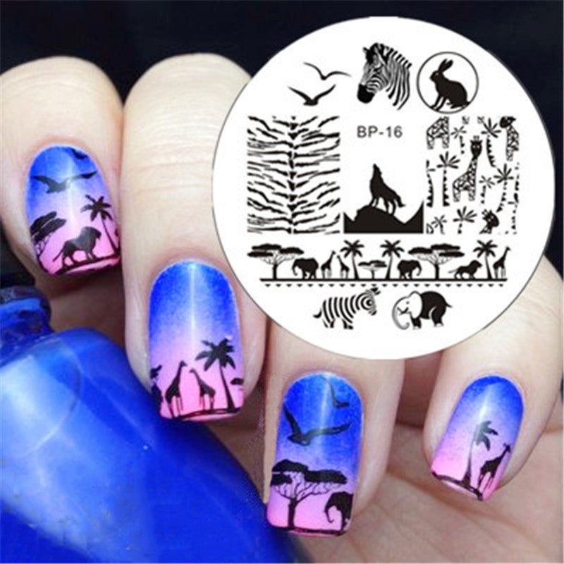 BORN PRETTY Zebra Wolf Animal Patterns Nail Art Stamp Template Image