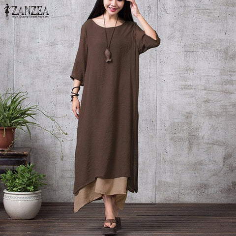 ZANZEA Fashion Cotton Linen Vintage Dress Summer Autumn Women Casual Loose Boho Long Maxi Dresses Vestidos Plus Size