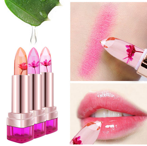 Temperature Change Color Lip Balm 3 Color Waterproof Long-lasting Sweet Transparent Jelly Flower Pink Moisturizer Lipstick