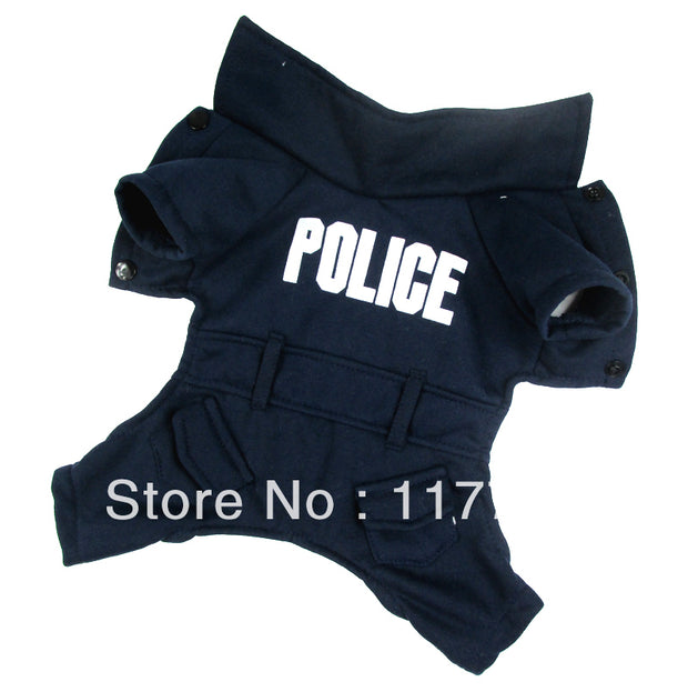Retail  Cute  Dakr Blue Police Dog pet dogs Cosplay coat Free Shipping