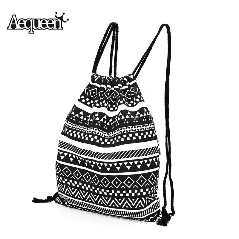 Women Backpack National Canvas Drawstring School Bagpack Vintage