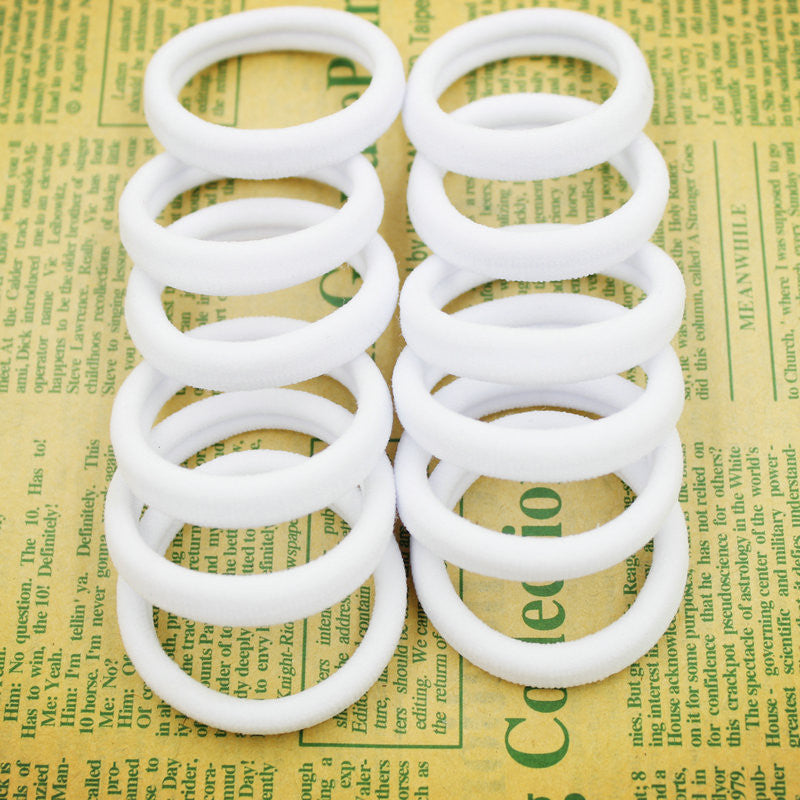 New 50pcs/bag 40mm Pure White Hair Holders Rubber Bands Elastics