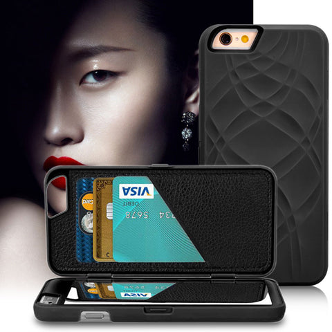 Make UP Mirror Card Slot Wallet Case For Iphone 6 6S 4.7 / Plus 5.5 Luxury Case Hard Back Cover Flip Leather Cover For iPhone 7
