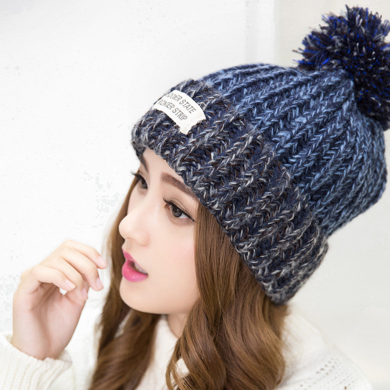 New Fashion Woman's Warm Woolen Winter Hats Knitted Fur Cap For