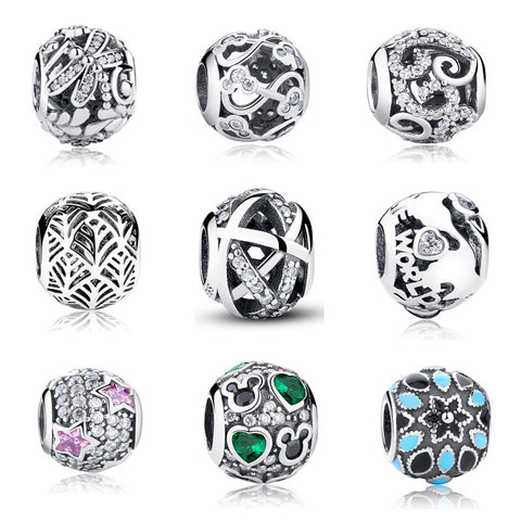 BISAER Genuine 925 Sterling Silver Charm Galaxy Beads Fit Original Pandora Bracelet DIY Wholesale Accessories Jewelry Making