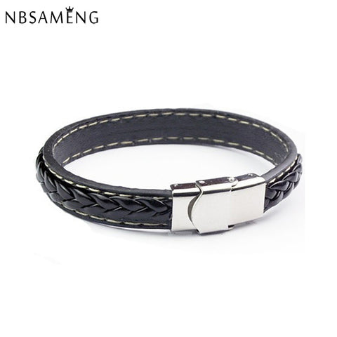 Black Genuine Leather Bracelet Men Bangle With Stainless Steel Fashion New Men Jewelry Rock Chunky Mens Bracelets 13M0563