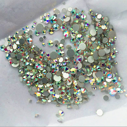 High quality 1000PCS Mix Sizes Crystal Clear AB Non Hotfix Flatback Nail Rhinestoens For Nails 3D Nail Art Decoration Gems