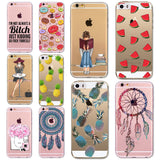 Thin Soft TPU Silicon Transparent Fruits DREAM CATCHER lovly girl Case Cover For Apple iPhone 5 5S SE 6 6S 6Plus 6s Plus