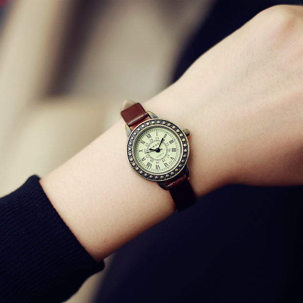 Fashion Classic Vintage Magic Rome Dial Brass Alloy Thin Leather Strap
