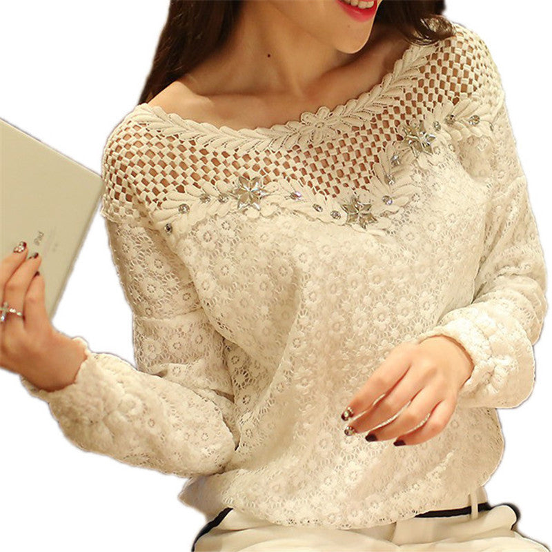 Blusas Femininas Spring Women Long Sleeve Fashion Lace Floral