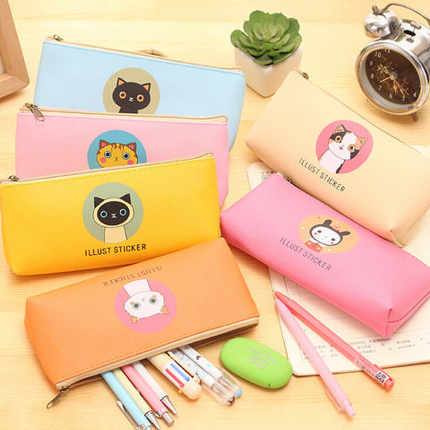 Creative Happy Cats Family PU Leather Waterproof Pencil Case Stationery Storage Bag School Office Supply Escolar Papelaria