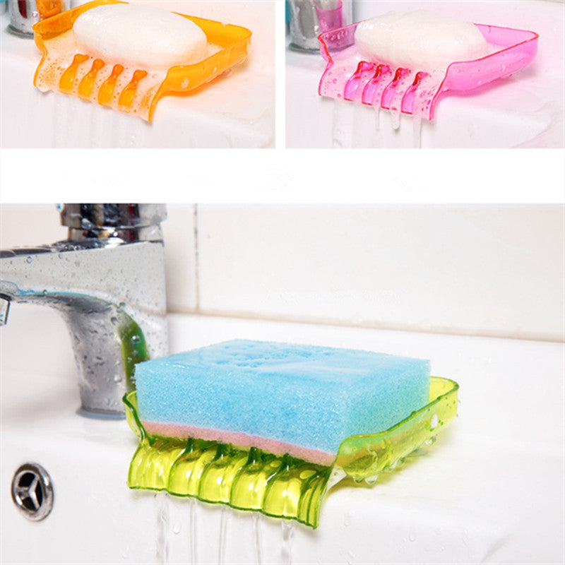 Colorful Flexible Waterfall Soap Holder Tray Drain Holder Bathroom