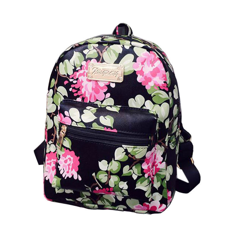 New Printing Backpack School Bags For Teenagers PU Leather Women