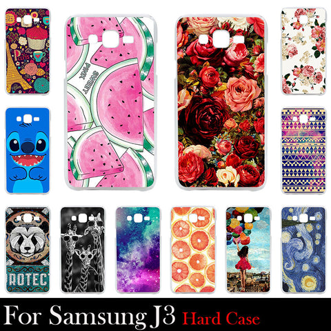 For Samsung Galaxy J3 Case Hard Plastic Mobile Phone Cover Case DIY Color Paitn Cellphone Bag Shell