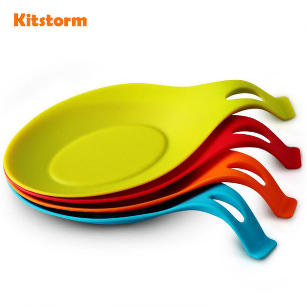 Kitchen Heat Resistant Silicone Spoon Rest Utensil Spatula Holder