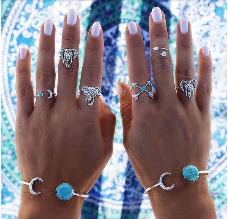 Bohemian 6pcs/Pck Vintage Anti Silver Blue stone Elephants Rings